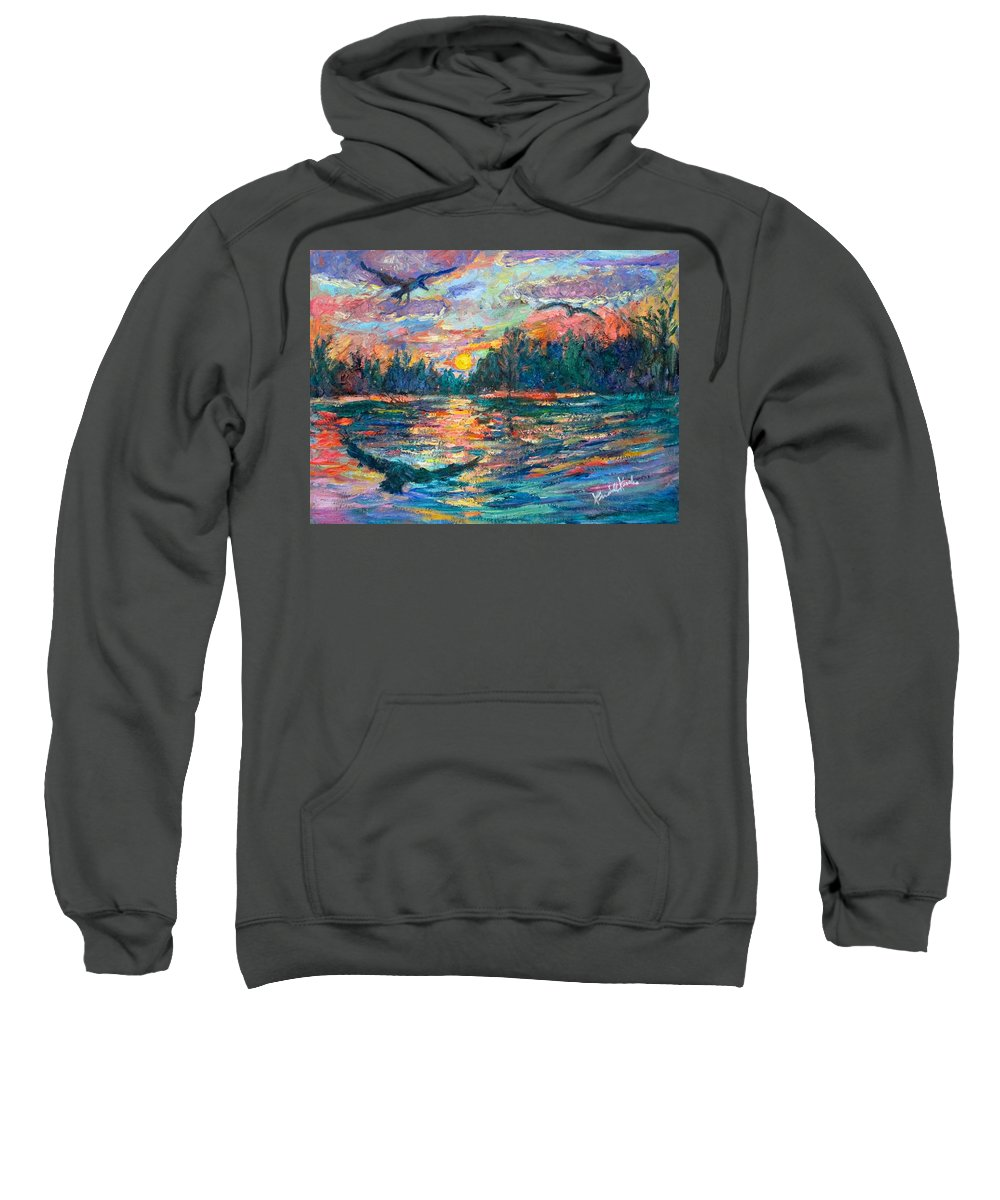 Landscape Sweatshirt featuring the painting Evening Flight by Kendall Kessler