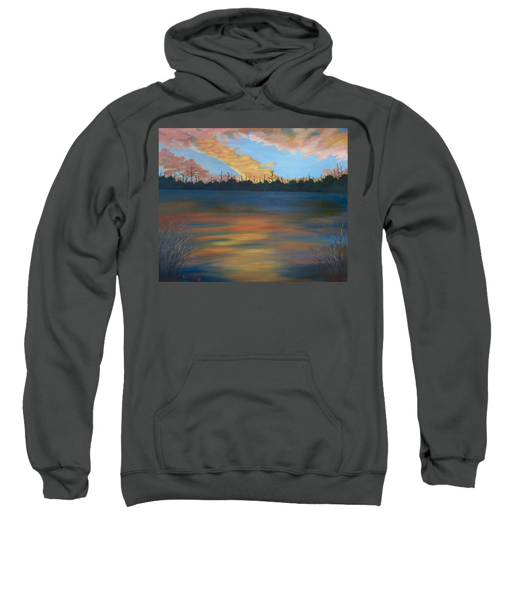 Landscape Sweatshirt featuring the painting Evening Peace by Ruth Housley