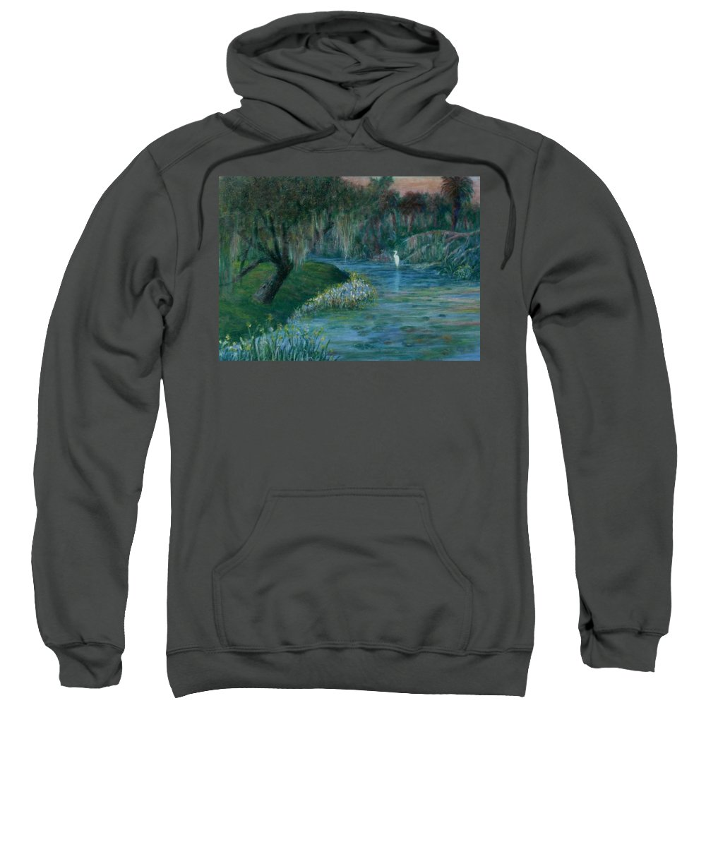 Low Country; Egrets; Lily Pads Sweatshirt featuring the painting Evening Shadows by Ben Kiger