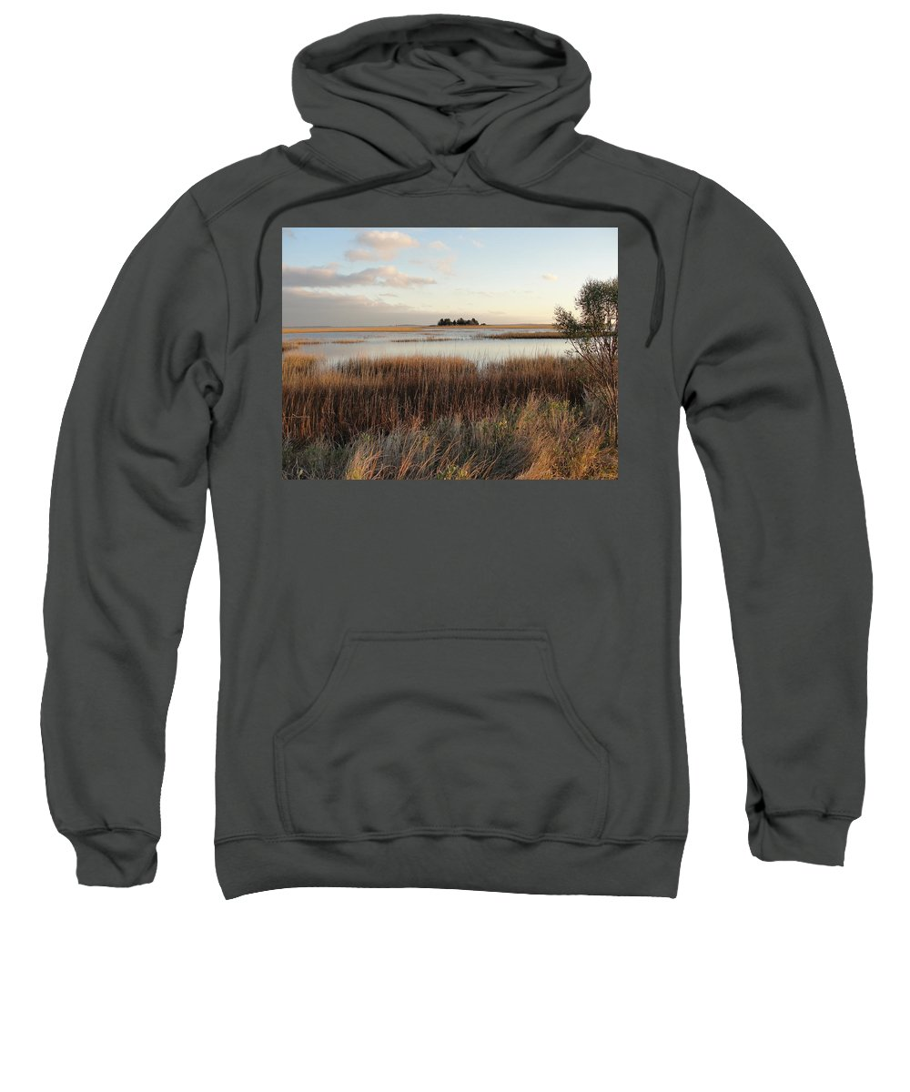 Seaside Evening Sunset Sweatshirt featuring the photograph Evening Sunset Marsh by Patricia Hart