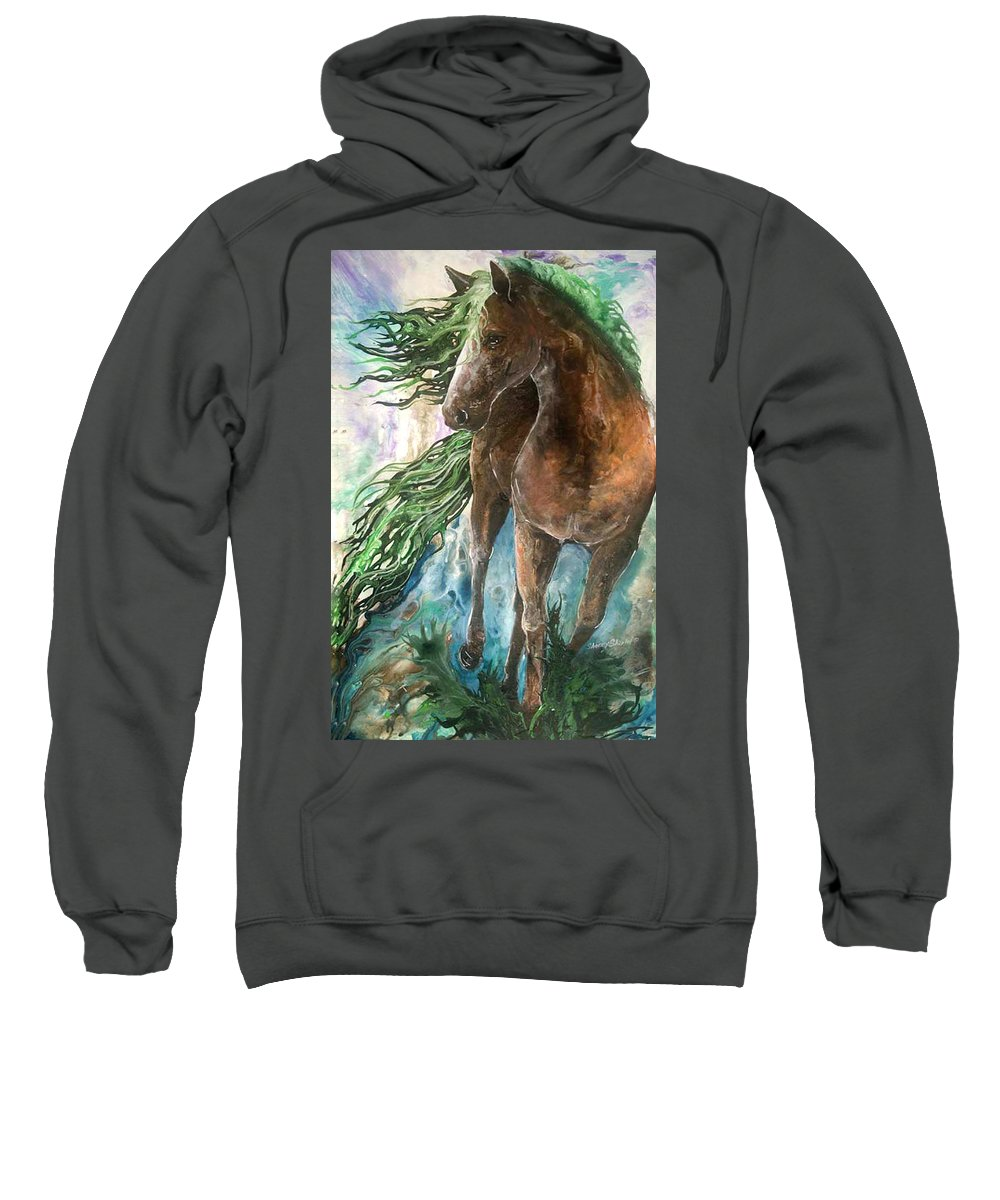 Horse Sweatshirt featuring the painting Ever Green Earth Horse by Sherry Shipley