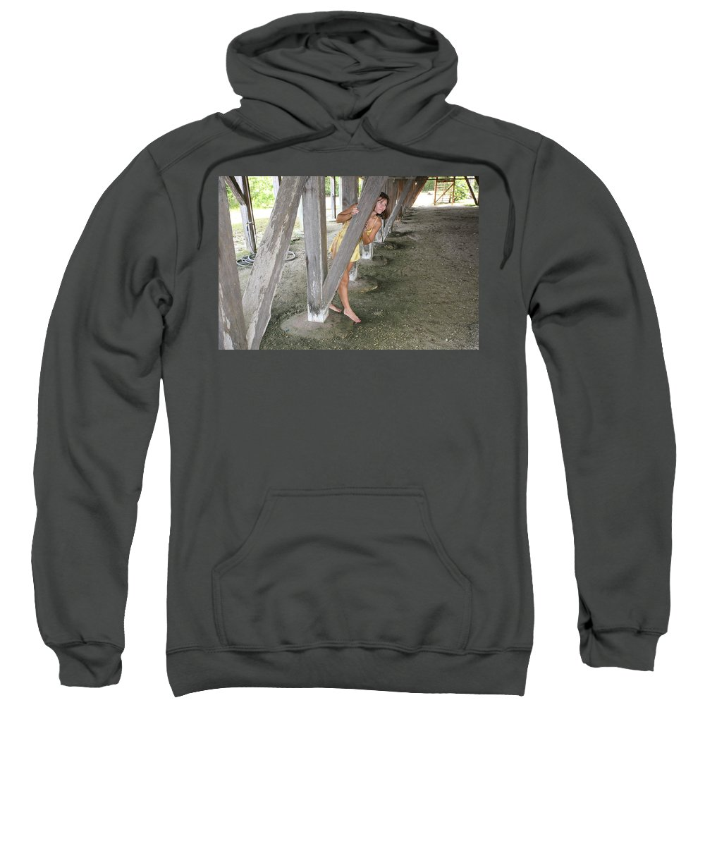 Everglades City Photographer Lucky Cole Female Beauty Love Enchanting Beauty Exotic Glamorous Natural Beauty Natural Setting Environmental Portraits Sweatshirt featuring the photograph Everglades City Beauty 534 by Lucky Cole