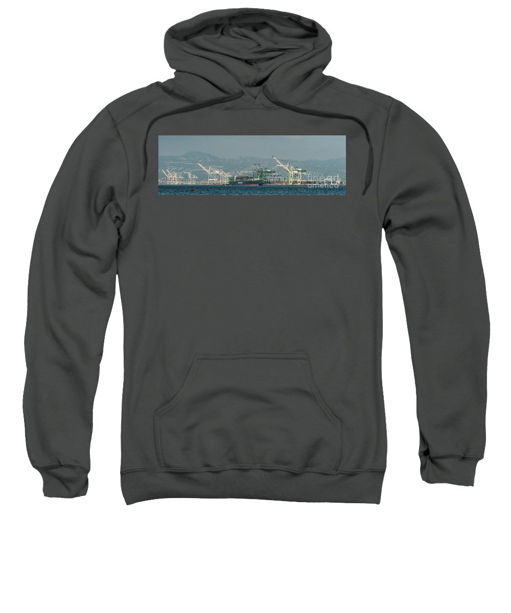 Evergreen Sweatshirt featuring the photograph Evergreen Freight Ship And Cargo In Port Of Oakland, California by David Oppenheimer