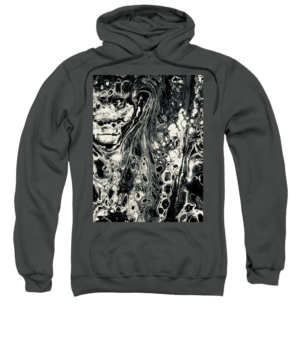 Acrylic Sweatshirt featuring the mixed media Evil In Black And White by B R Wiatrek