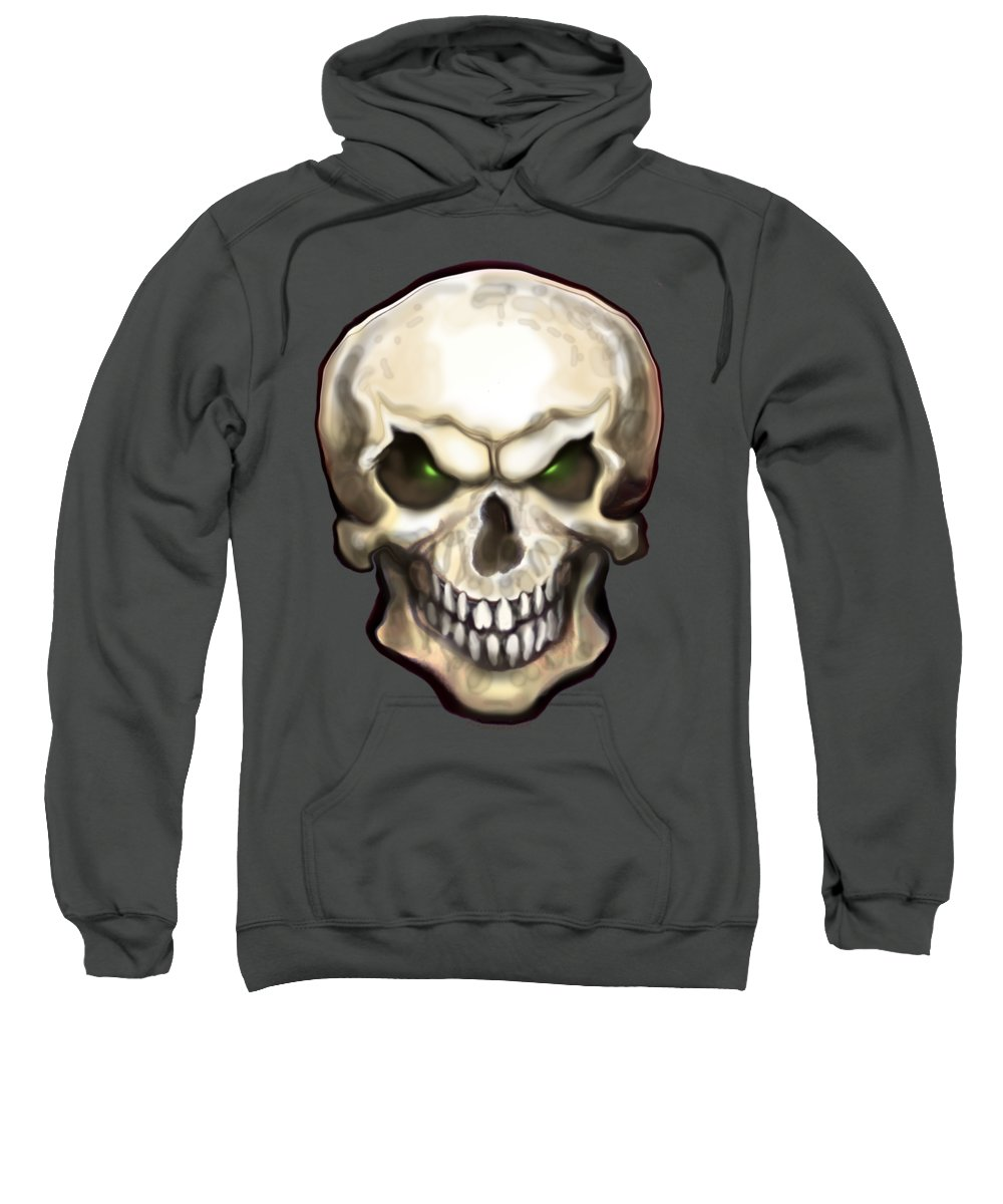 Skull Sweatshirt featuring the painting Evil Skull by Kevin Middleton