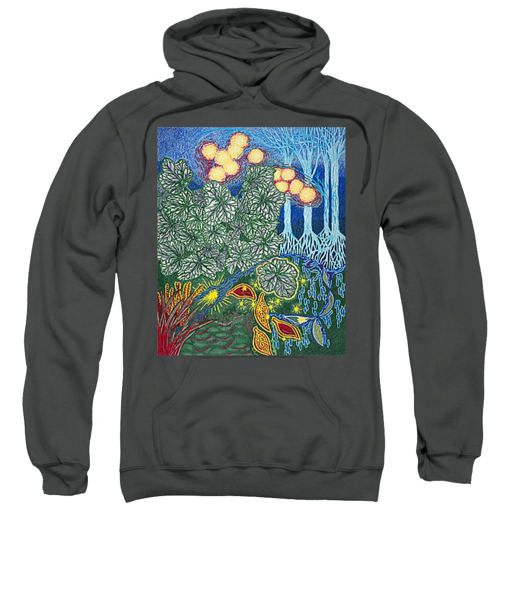 Art Sweatshirt featuring the drawing Exciting Harmony Art Prints And Gifts Autumn Leaves Botanical Garden Park Plants by Baslee Troutman