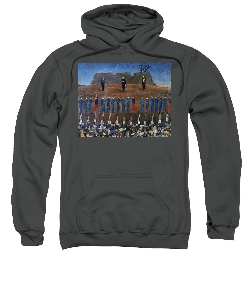 1867 Sweatshirt featuring the photograph Execution Of Maximilian by Granger