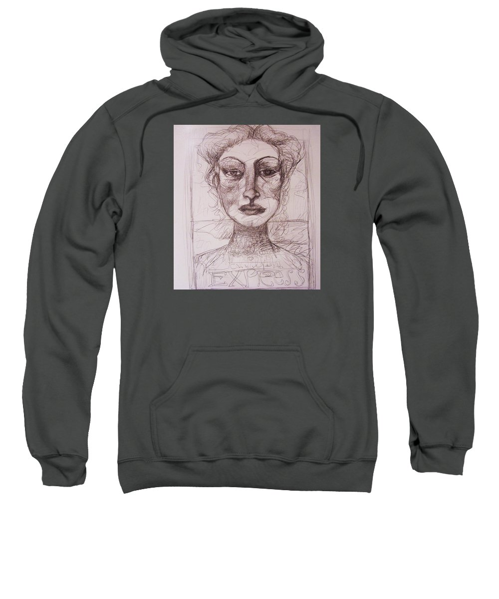 Drawing Sweatshirt featuring the drawing EXP by Mykul Anjelo