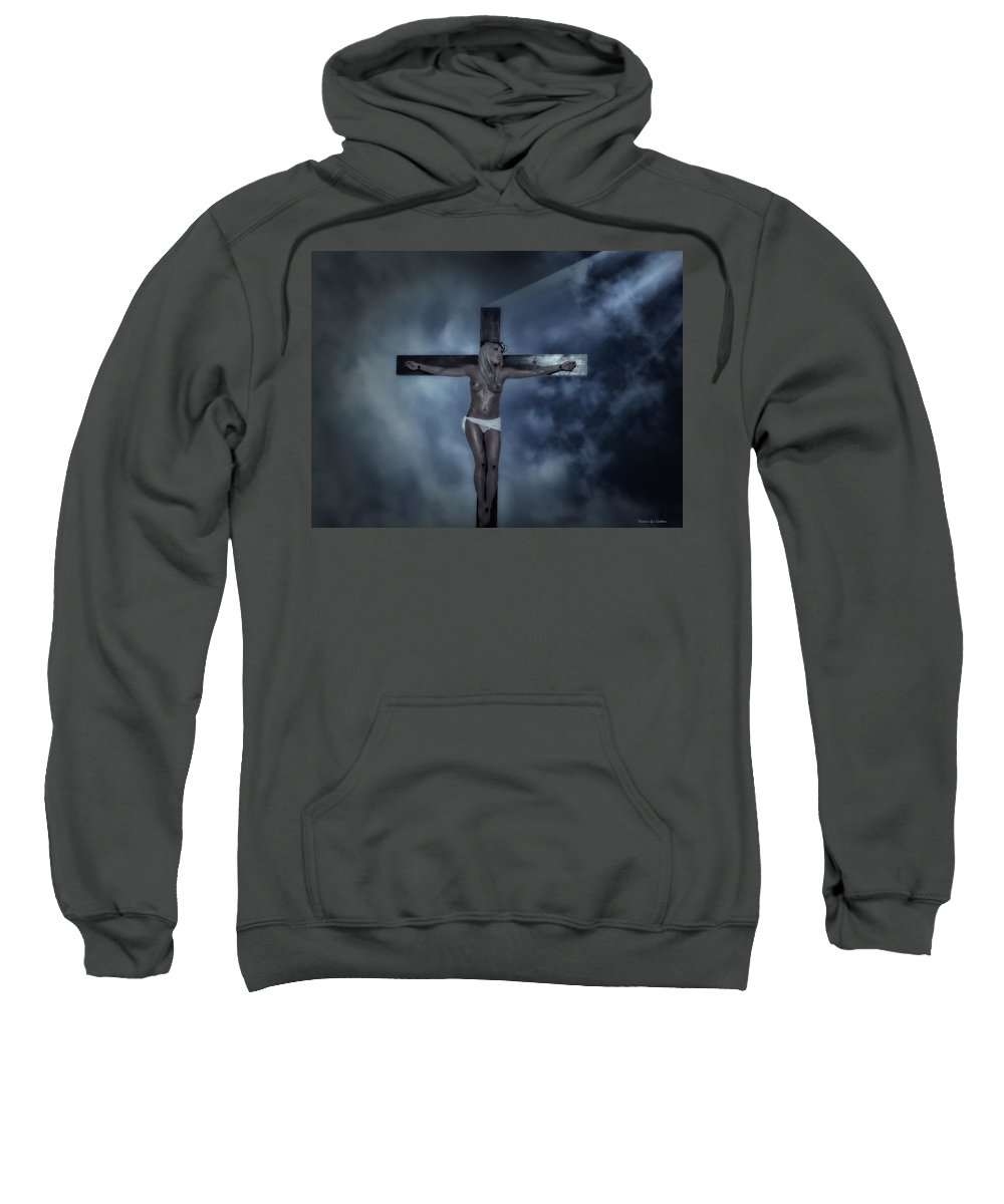Experimental Sweatshirt featuring the digital art Experimental Crucifix In The Light by Ramon Martinez