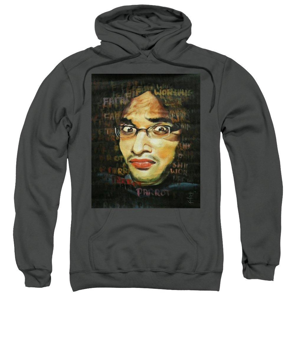 Sweatshirt featuring the painting Expression by Kuldeep Kumar kardam