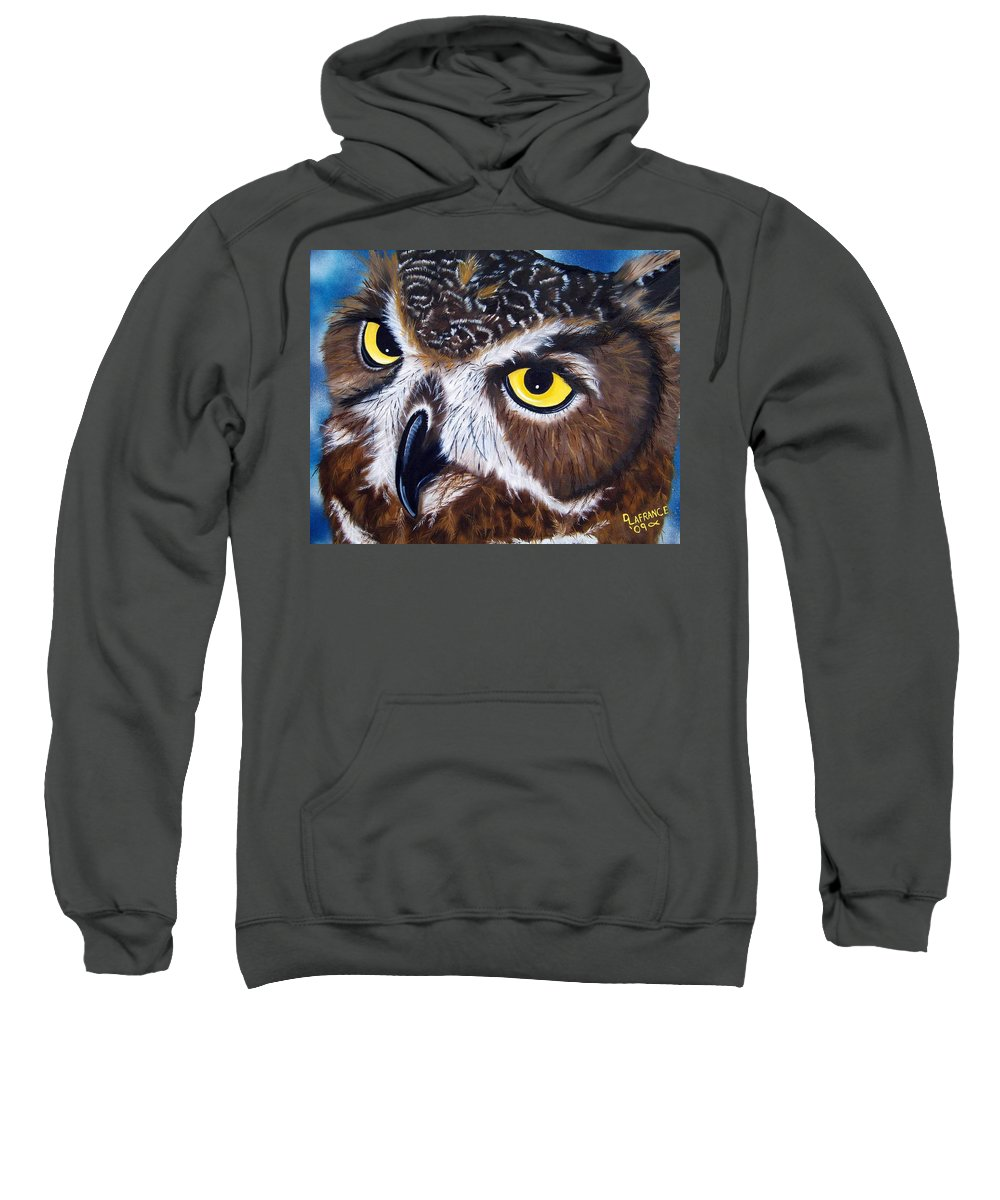 Owl Sweatshirt featuring the painting Eyes Of Wisdom by Debbie LaFrance