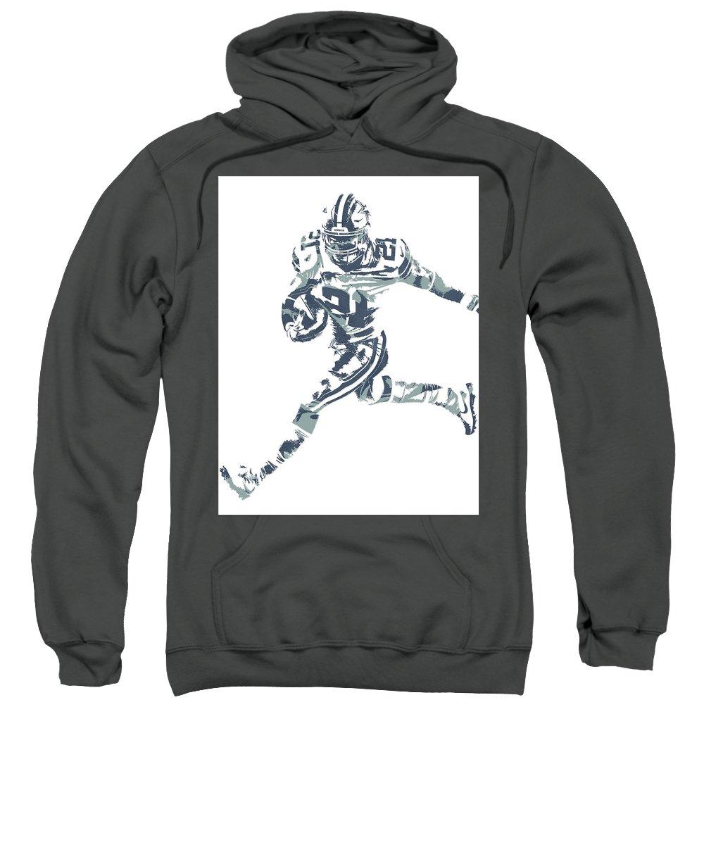 Ezekiel Elliott Sweatshirt featuring the mixed media Ezekiel Elliott Dallas Cowboys Pixel Art 26 by Joe Hamilton