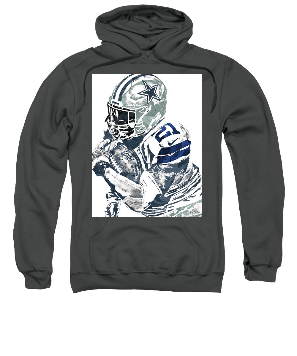 Ezekiel Elliott Sweatshirt featuring the mixed media Ezekiel Elliott Dallas Cowboys Pixel Art 5 by Joe Hamilton