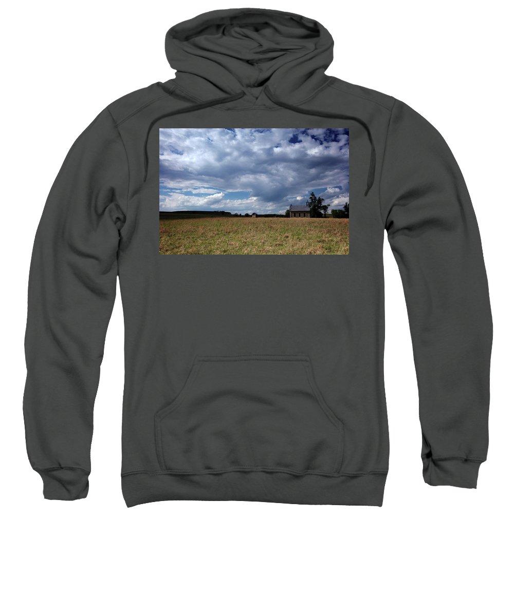 Kansas Sweatshirt featuring the photograph F06 003 Flint Hills Schoolhouse by Jon Friesen