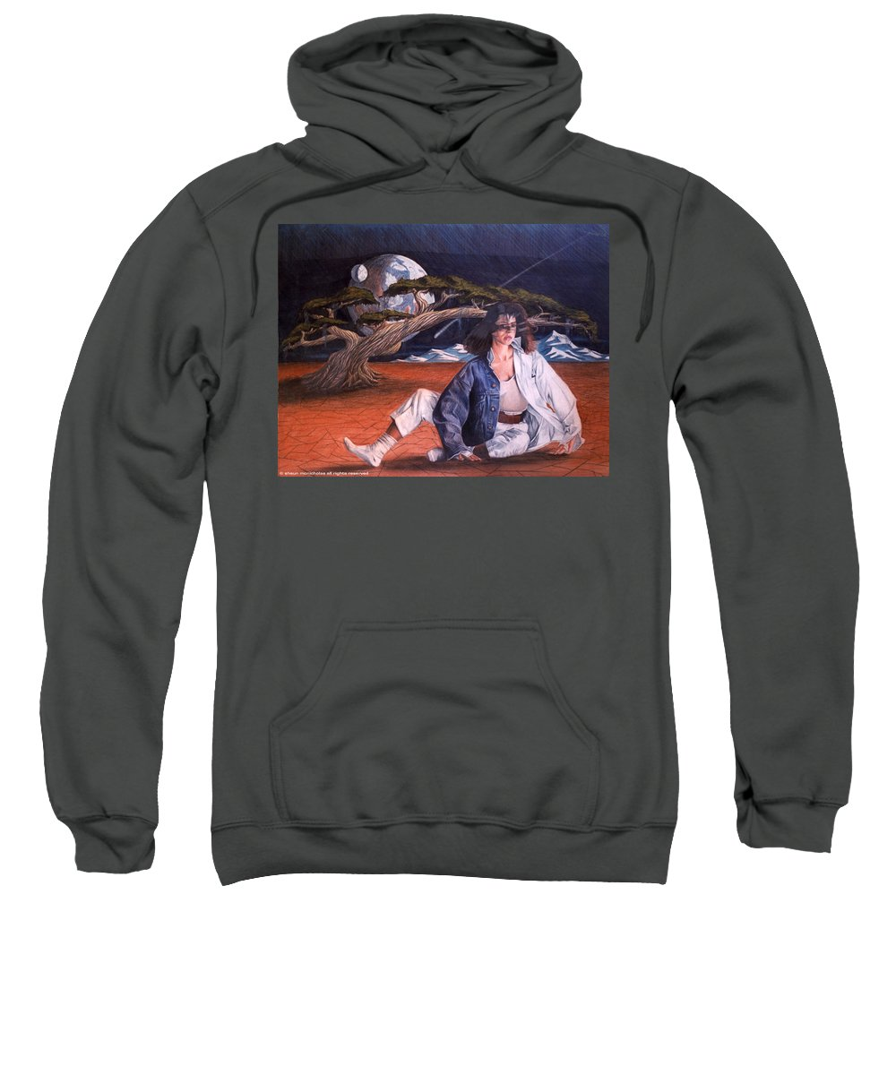 Woman Sweatshirt featuring the drawing Fabrics by Shaun McNicholas