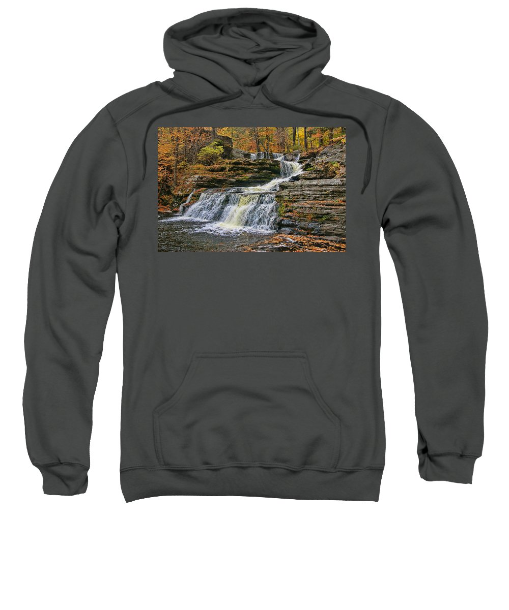 Fall Sweatshirt featuring the photograph Factory Falls - Childs State Park by Allen Beatty