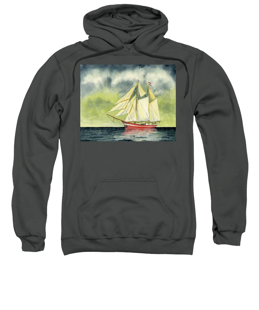 Nautical Sweatshirt featuring the painting Fair Winds And Following Seas by Brett Winn