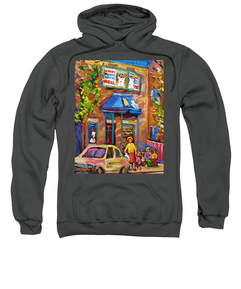 Fairmount Bagel Sweatshirt featuring the painting Fairmount Bagel Fairmount Street Montreal by Carole Spandau