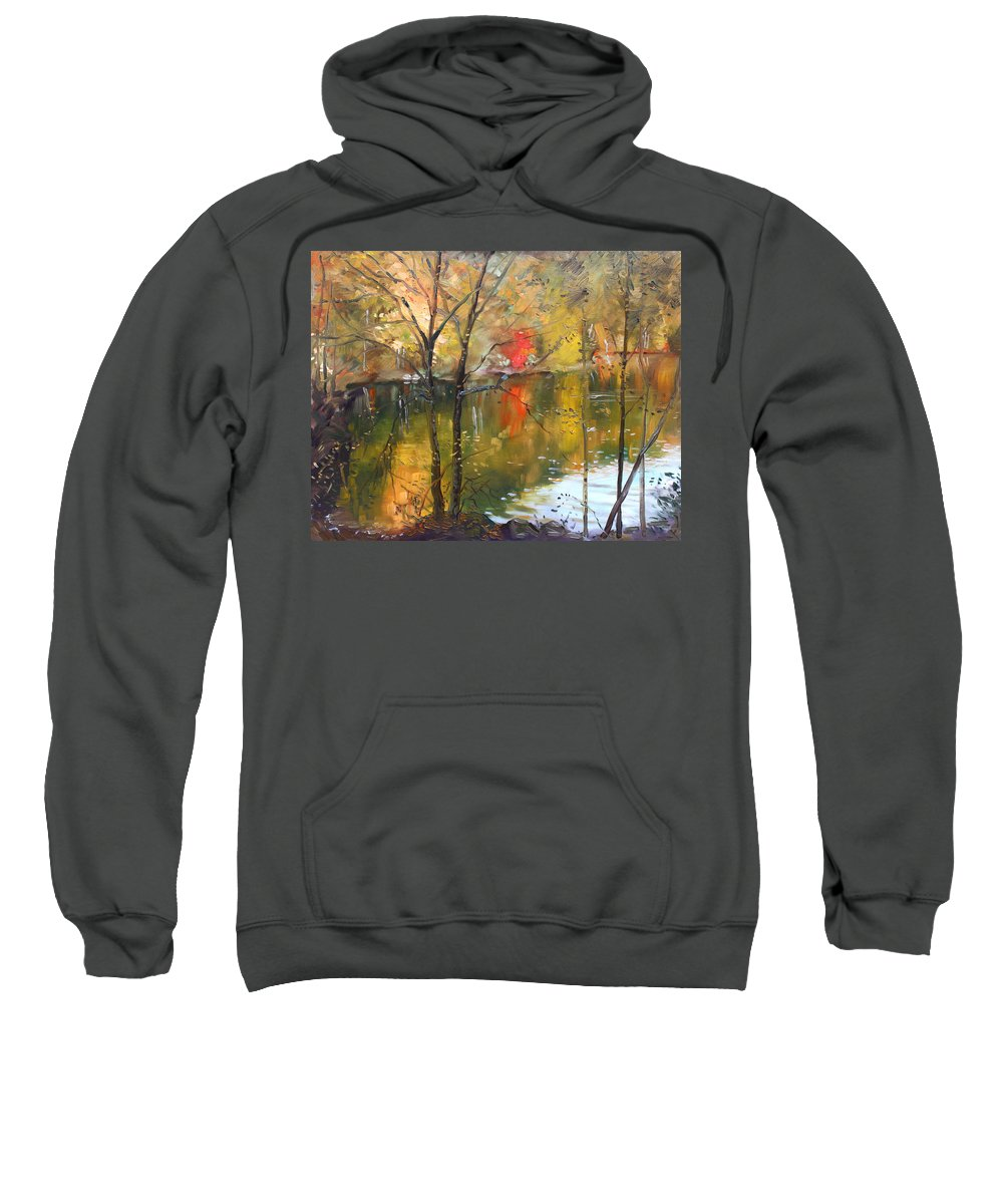 Landscape Sweatshirt featuring the painting Fall 2009 by Ylli Haruni
