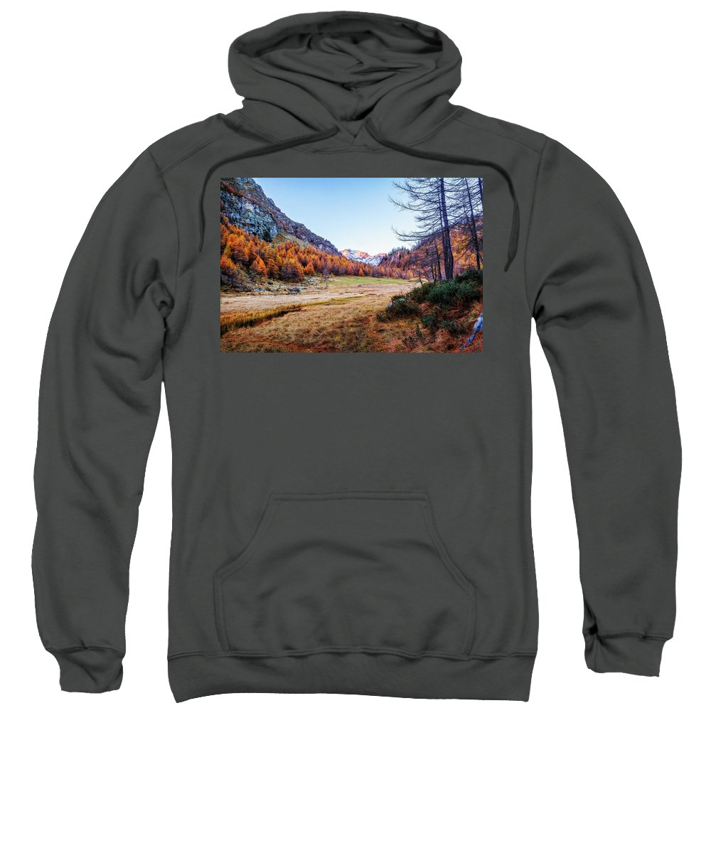 Color Efex Pro Sweatshirt featuring the photograph Fall Colors At Alpe Devero by Roberto Pagani