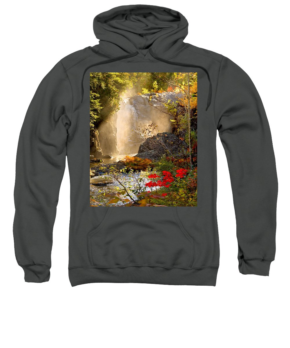 Fall Sweatshirt featuring the photograph Fall Falls Mist Dead River Falls Marquette Mi by Michael Bessler