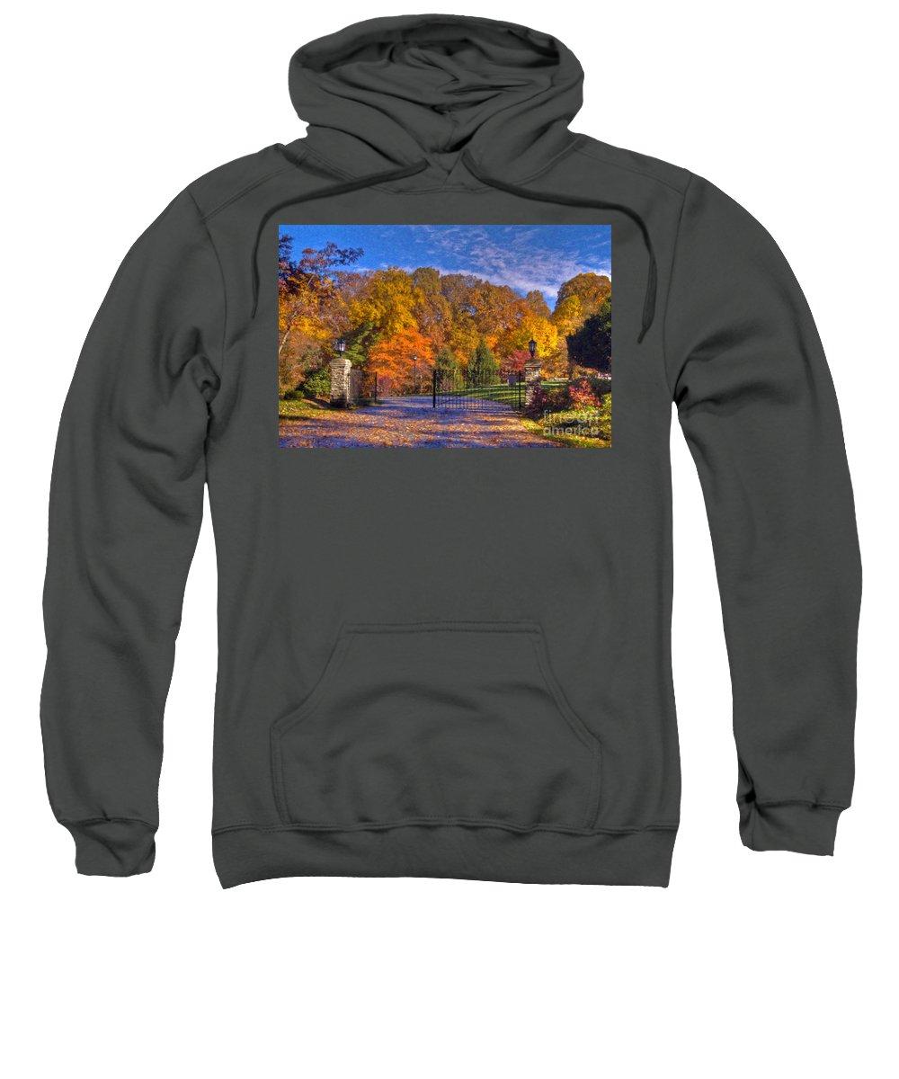 Fall Foliage Gated Estate Sweatshirt featuring the photograph Fall Foliage Gated Estate by David Zanzinger