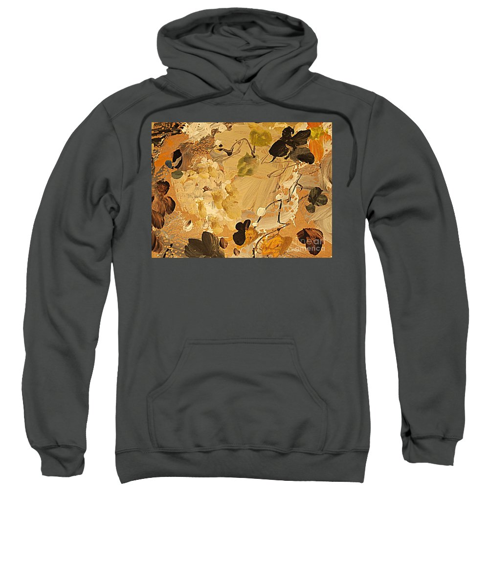 Abstract Flower Painting Sweatshirt featuring the painting Fall Frolic by Nancy Kane Chapman