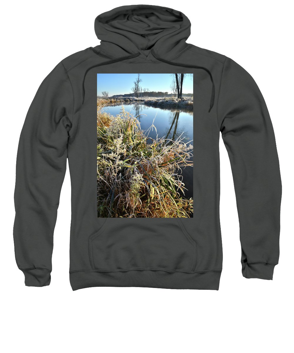 Mchenry County Conservation District Sweatshirt featuring the photograph Fall Frost On Grasses Along Nippersink Creek by Ray Mathis