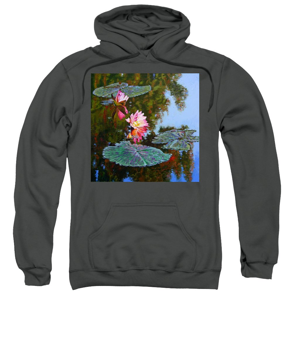 Water Lily Sweatshirt featuring the painting Fall Glow by John Lautermilch
