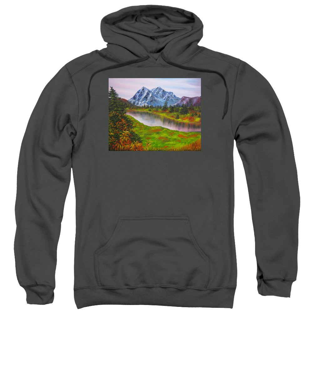 Fall Sweatshirt featuring the painting Fall In Mountains Landscape Oil Painting by Natalja Picugina