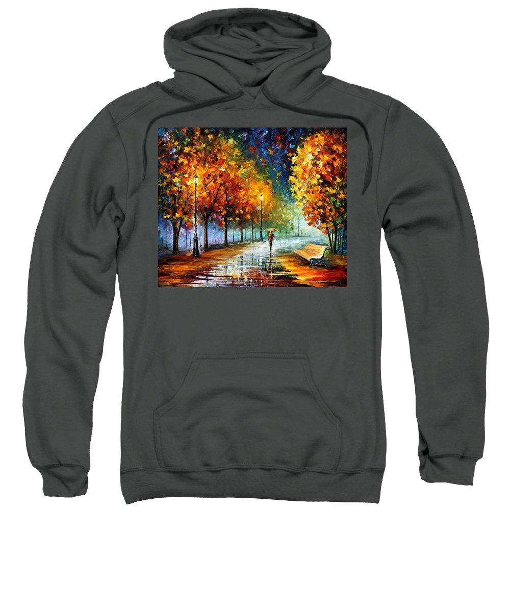 Afremov Sweatshirt featuring the painting Fall Marathon by Leonid Afremov