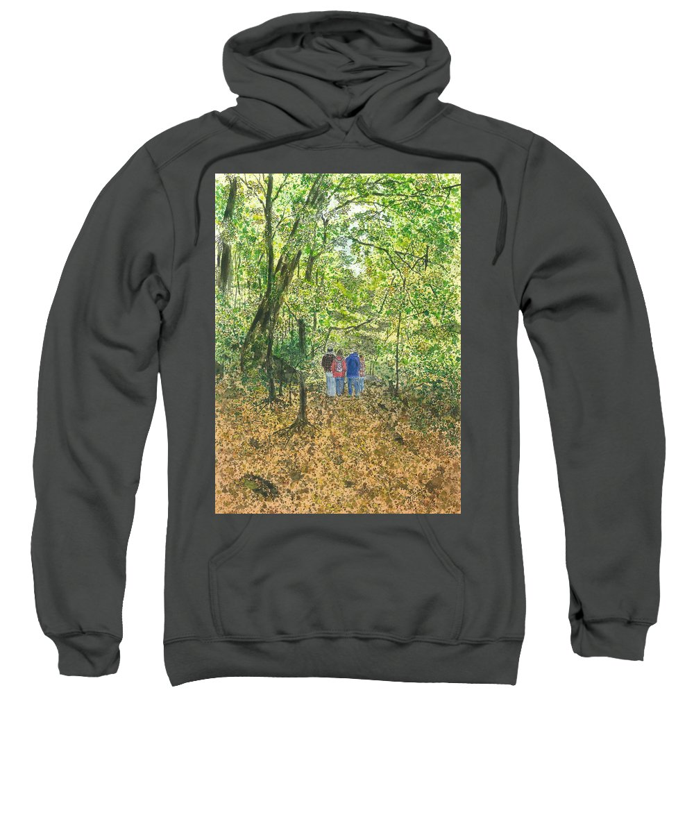 Watercolor Sweatshirt featuring the painting Fall Nymphs - IIi by Joel Deutsch