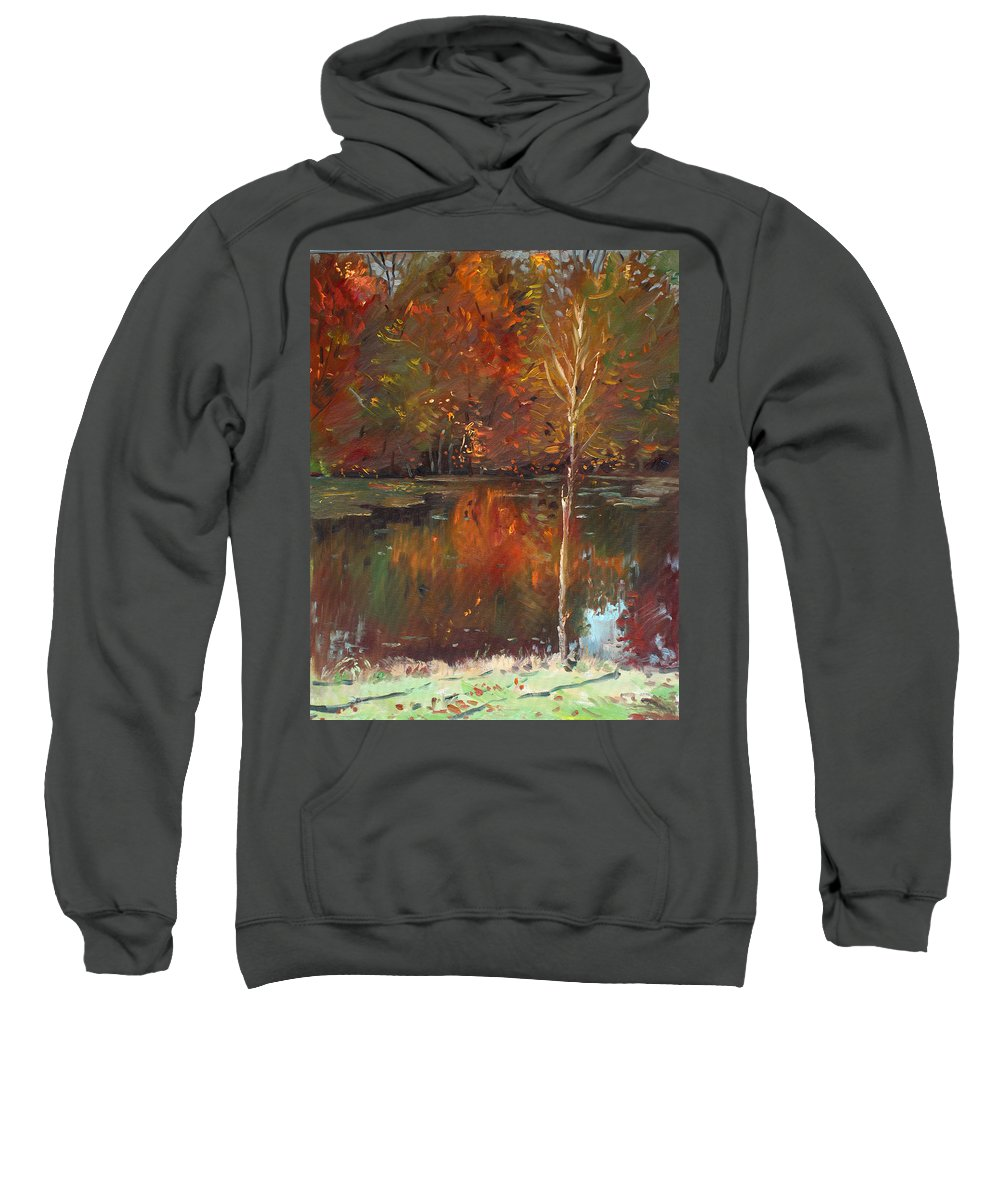 Landscape Sweatshirt featuring the painting Fall Reflection by Ylli Haruni