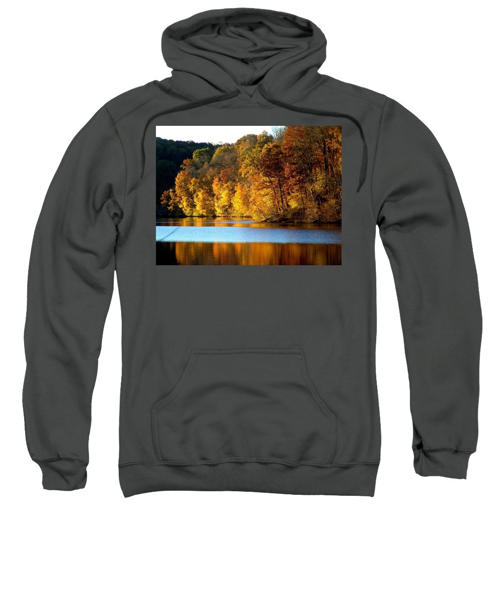 Trees Sweatshirt featuring the photograph Fall Reflections Of Indiana by Carol Milisen