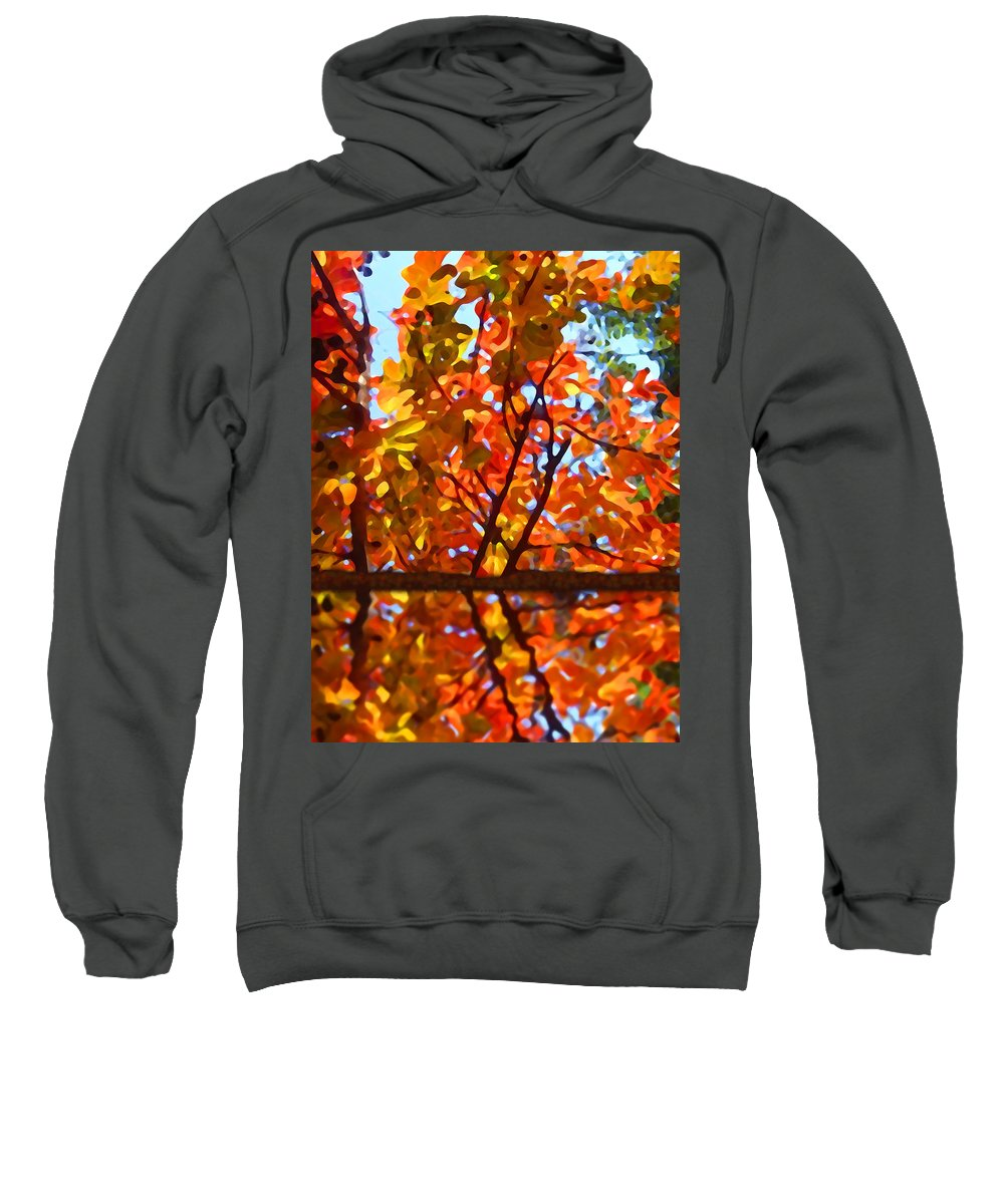 Trees Sweatshirt featuring the painting Fall Reflextion by Amy Vangsgard