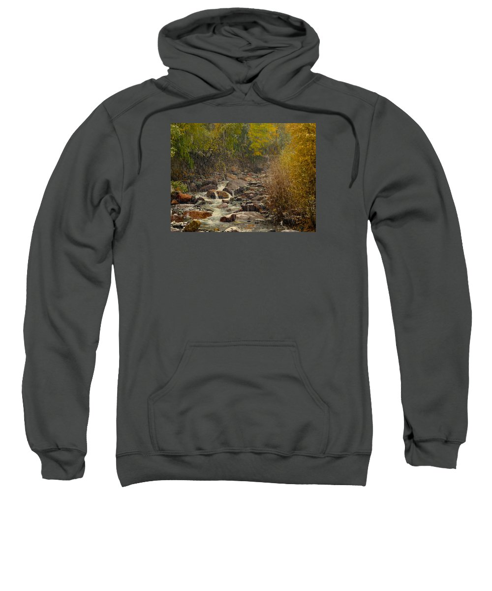 Fall Sweatshirt featuring the photograph Fall Snow Storm by Laura Ragland