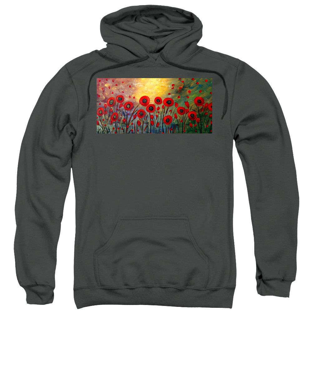 Flowers Sweatshirt featuring the painting Fall Time Poppies by Luiza Vizoli