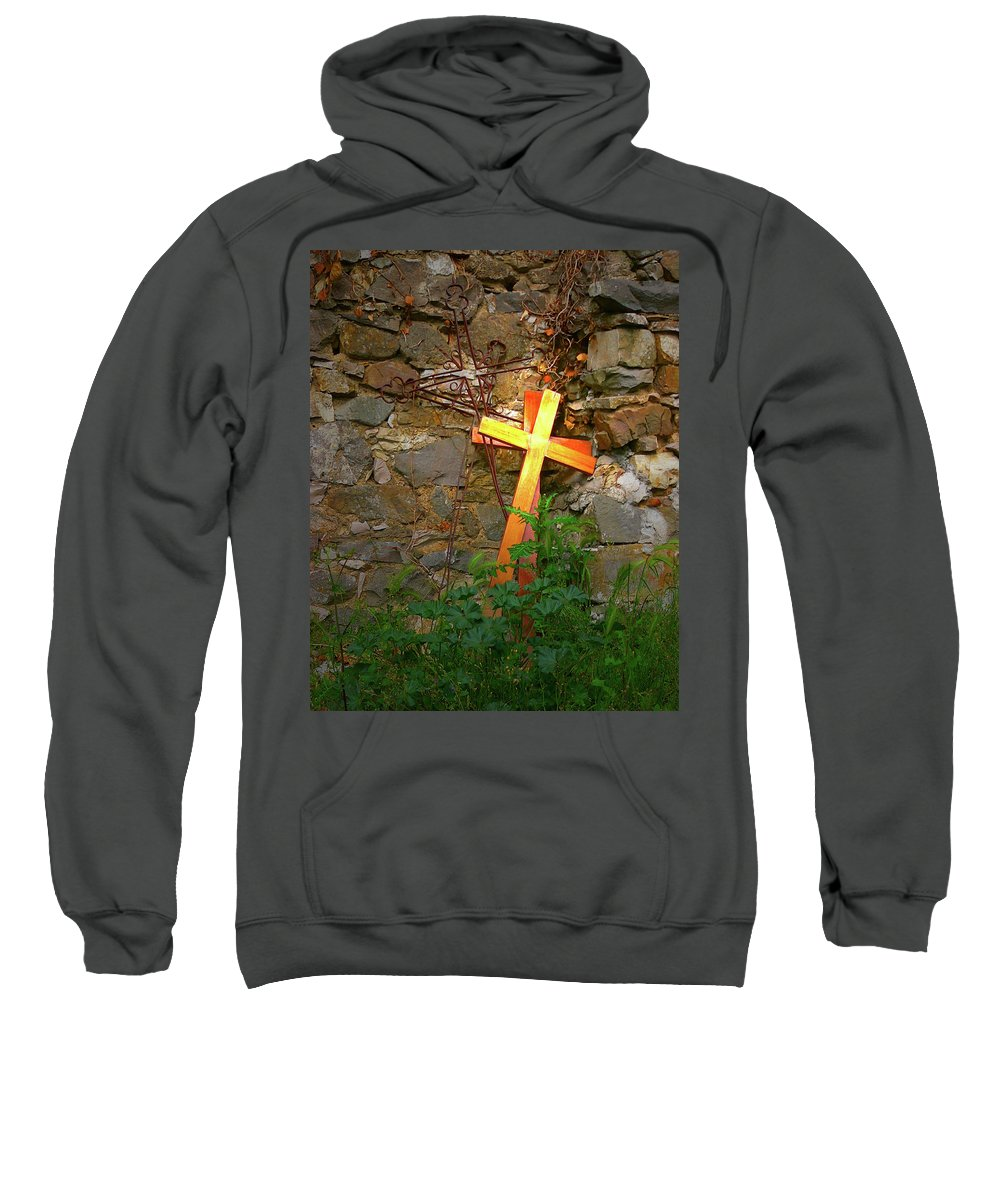 Sweatshirt featuring the photograph Falling Crosses by Angela Wright