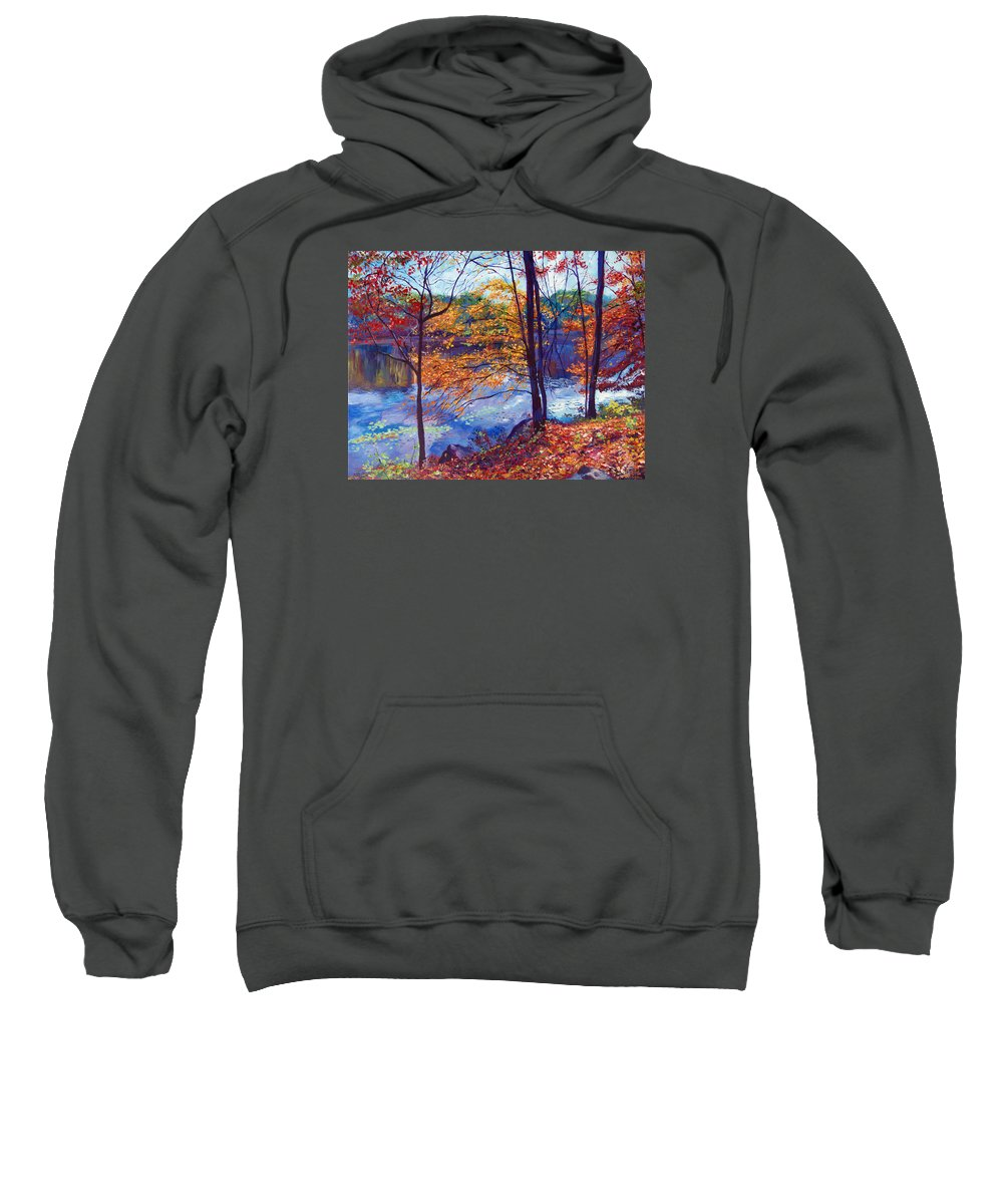 Landscape Sweatshirt featuring the painting Falling Leaves by David Lloyd Glover