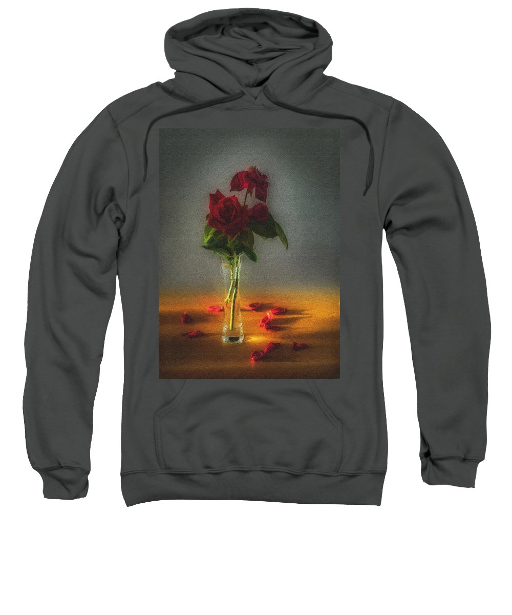 Background Sweatshirt featuring the photograph Falling Red Petals by Peter Hayward Photographer