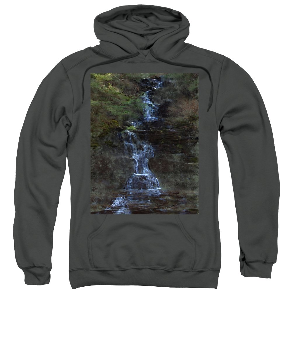 Sweatshirt featuring the photograph Falls At 6 Mile Creek Ithaca N.y. by David Lane