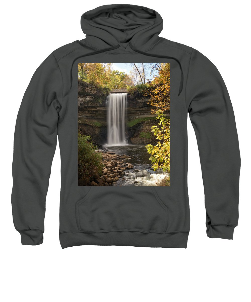 Minnehaha Falls Sweatshirt featuring the photograph Falls In The Fall by Karl Schroeder