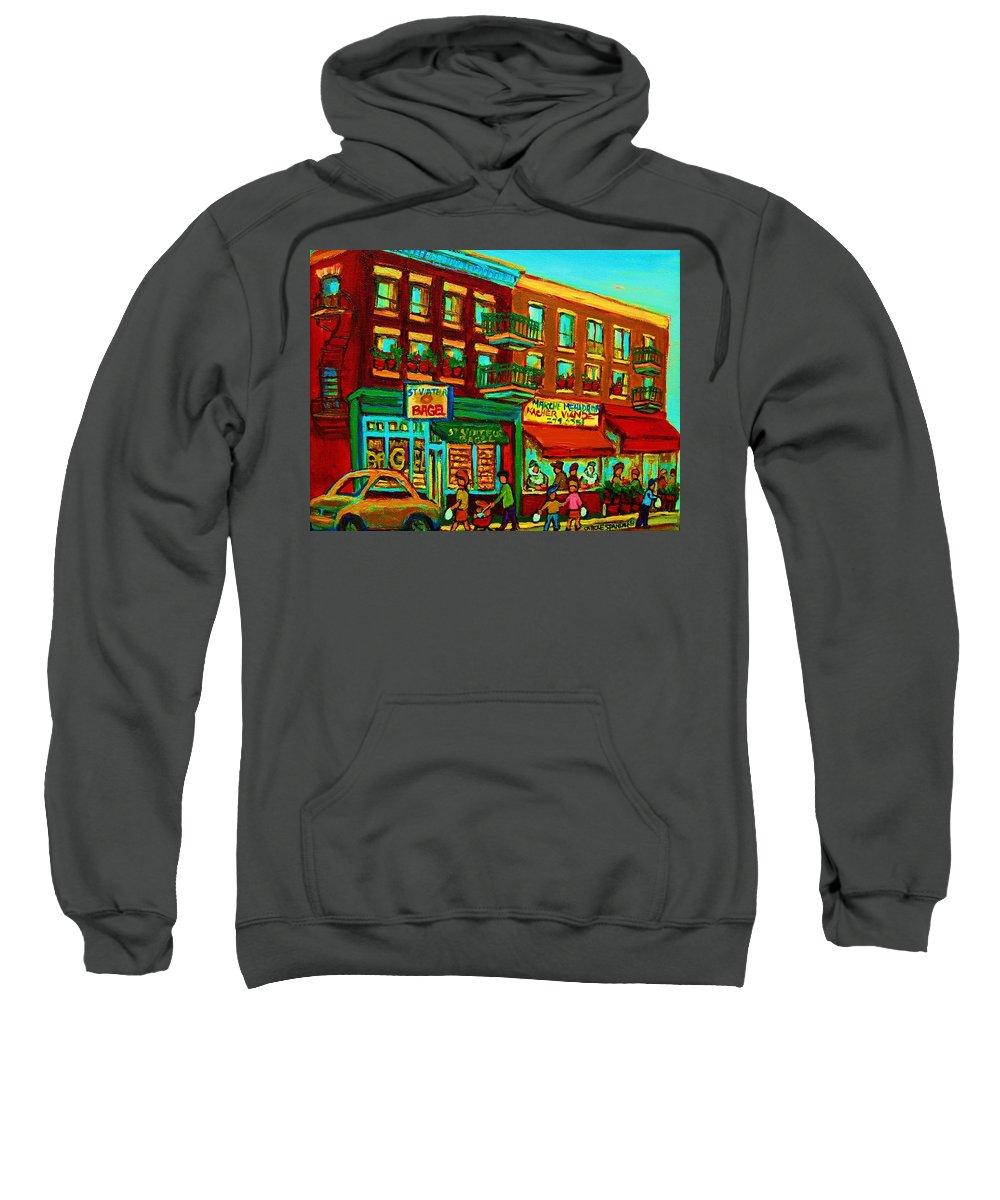 St Viateur Bagel Shop Montreal Street Scenes Sweatshirt featuring the painting Family Frolic On St.viateur Street by Carole Spandau