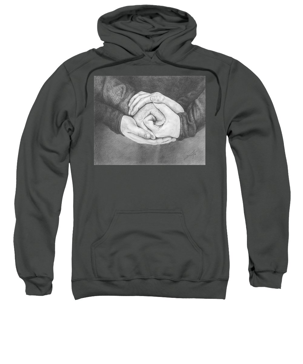 Family Sweatshirt featuring the drawing Family Rose by Don Scott