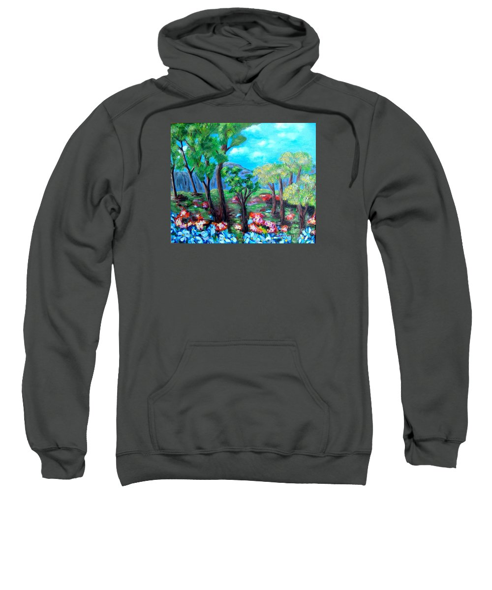 Fantasy Sweatshirt featuring the painting Fantasy Forest by Laurie Morgan