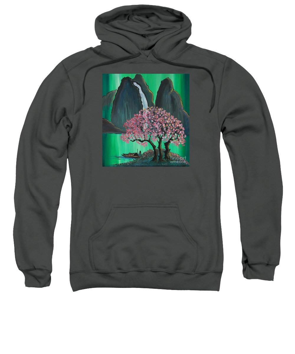 Japan Sweatshirt featuring the painting Fantasy Japan by Jacqueline Athmann