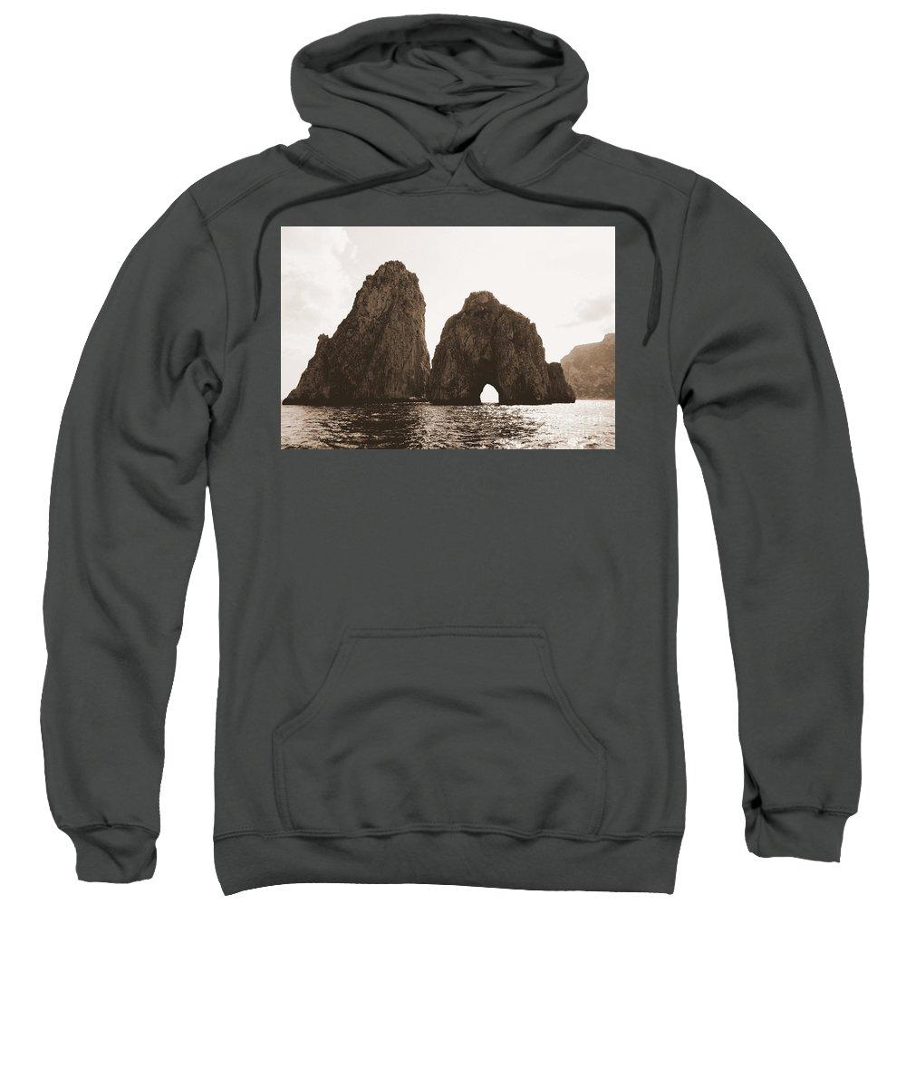 Faraglioni Sweatshirt featuring the photograph Faraglioni In Sepia by Kristie Rocca