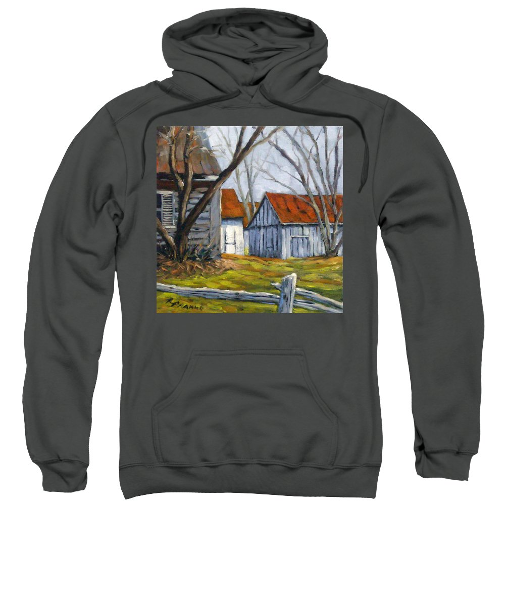 Farm Sweatshirt featuring the painting Farm In Berthierville by Richard T Pranke