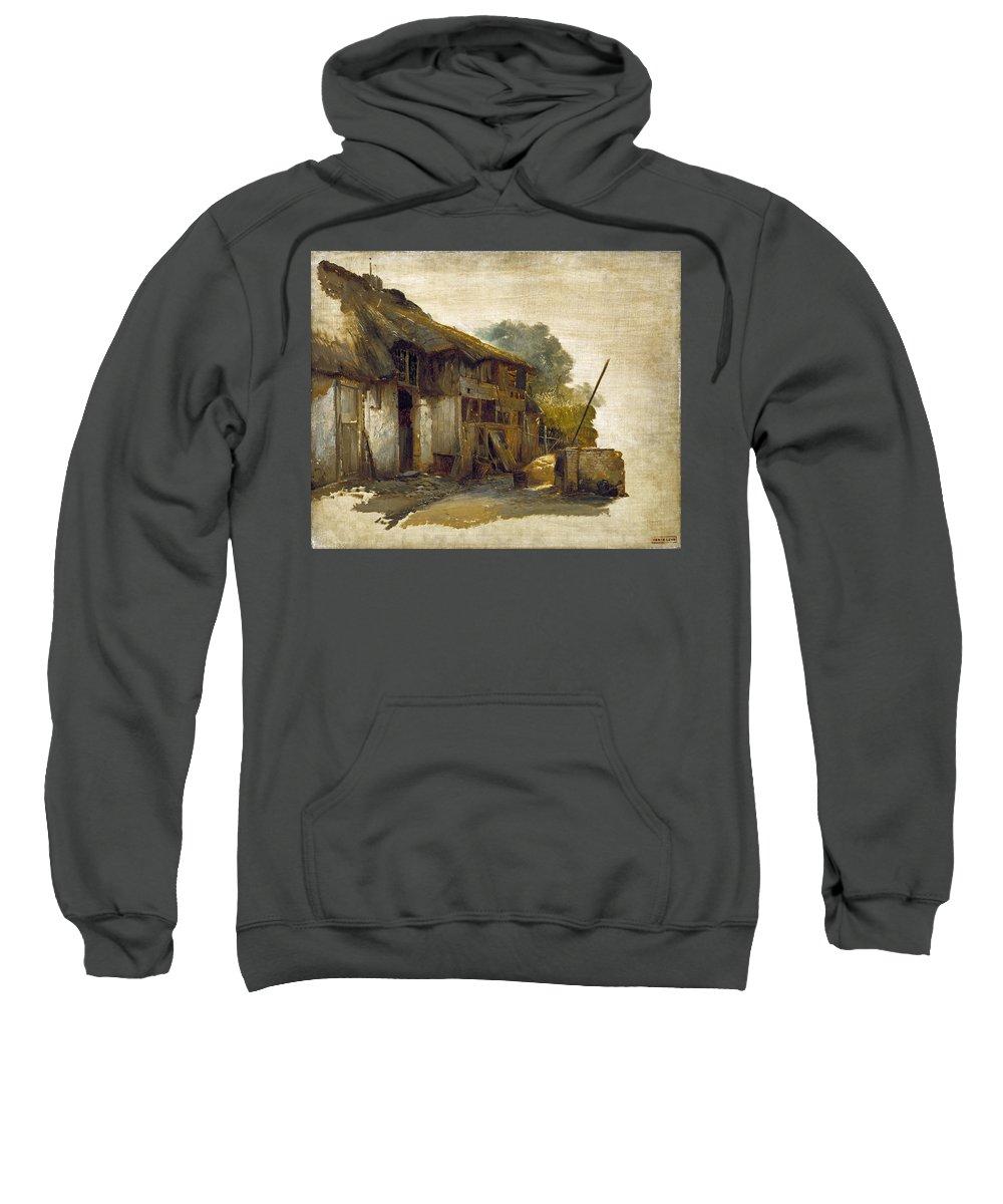 Hendrik Jan August Leys Sweatshirt featuring the painting Farmhouse by Hendrik Jan August Leys