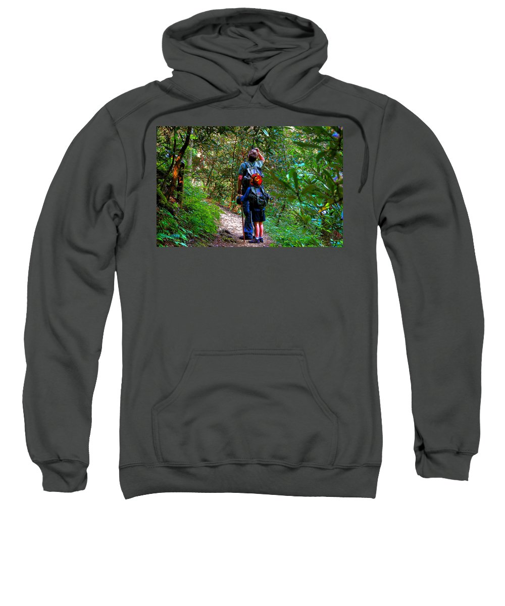 Father Sweatshirt featuring the painting Father And Son by David Lee Thompson
